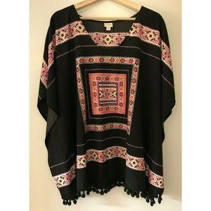 Merona Poncho Black with Boho Print Blouse Top XL